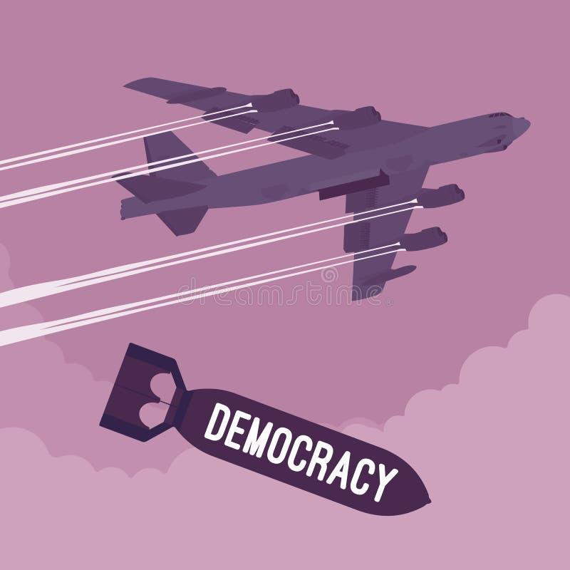 Bombardeo del bombardero y de la democracia ilustración del vector