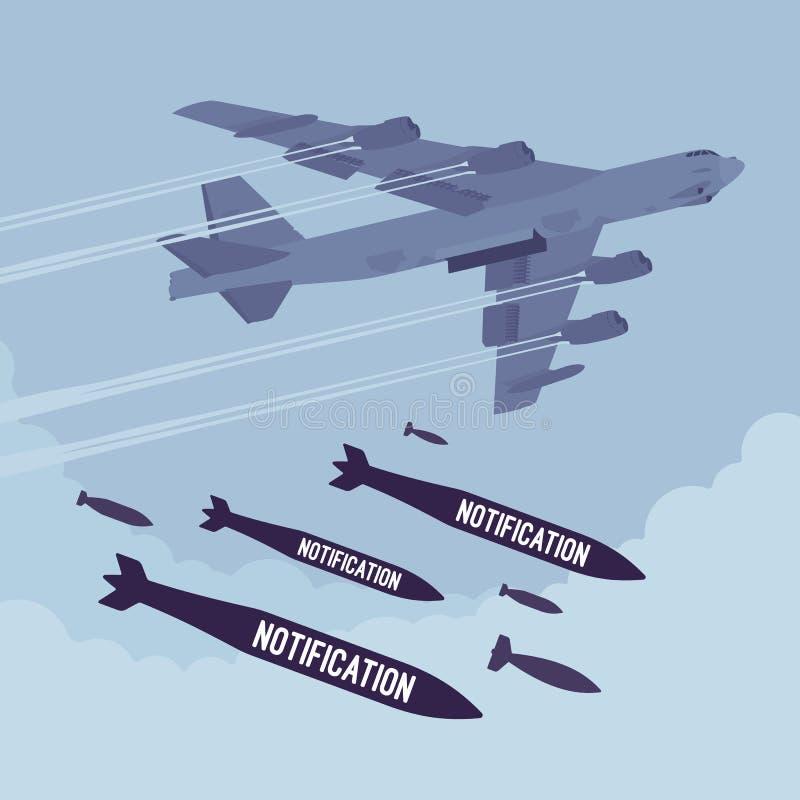 Bombardeo del bombardero y de la notificación ilustración del vector