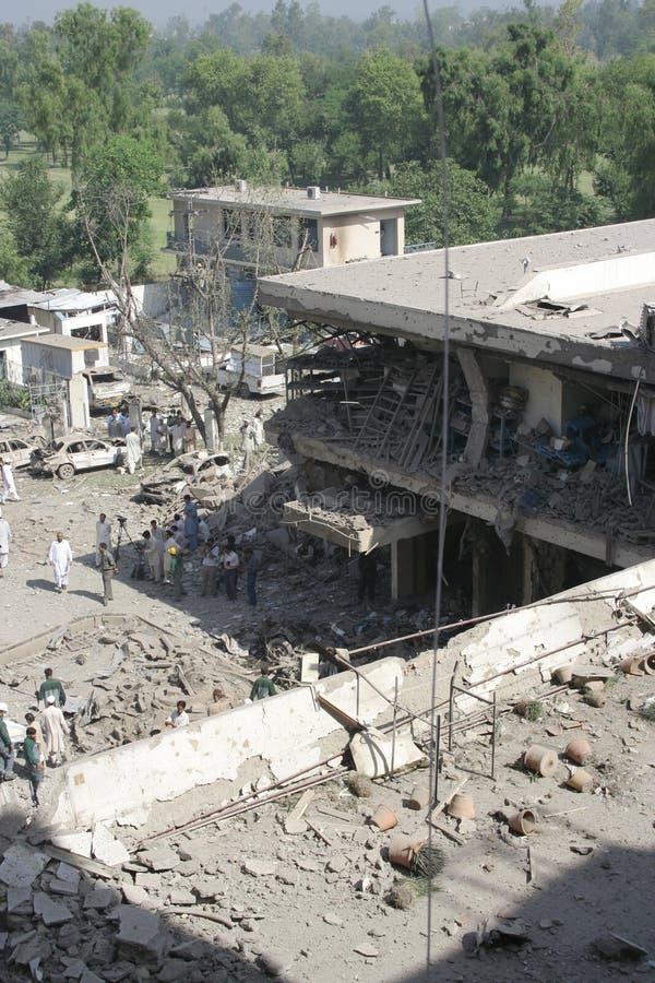 Bombardeo del hotel de Paquistán fotografía de archivo