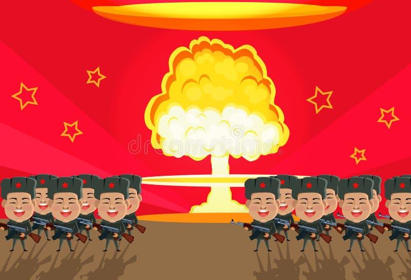Bombardera designlägenheten för den kärn- explosionen stock illustrationer