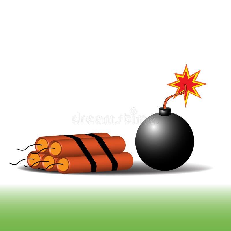 bombardera dynamit stock illustrationer