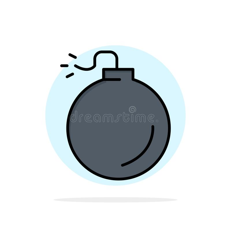 Bombardera explosivt, för cirkelbakgrund för explosionen den abstrakta symbolen för färg för lägenheten stock illustrationer