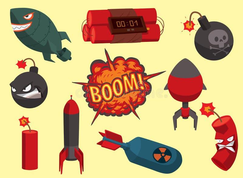 Bombardera förstörelse för militären för brand för explosionen för explosion för bollen för makt för attack för granaten för illu royaltyfri illustrationer
