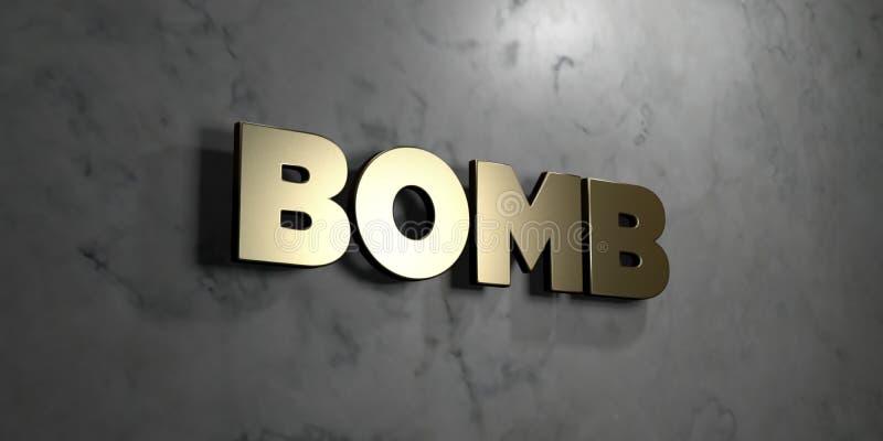 Bombardera - guld- tecken som monteras på den glansiga marmorväggen - den 3D framförda fria materielillustrationen för royalty vektor illustrationer