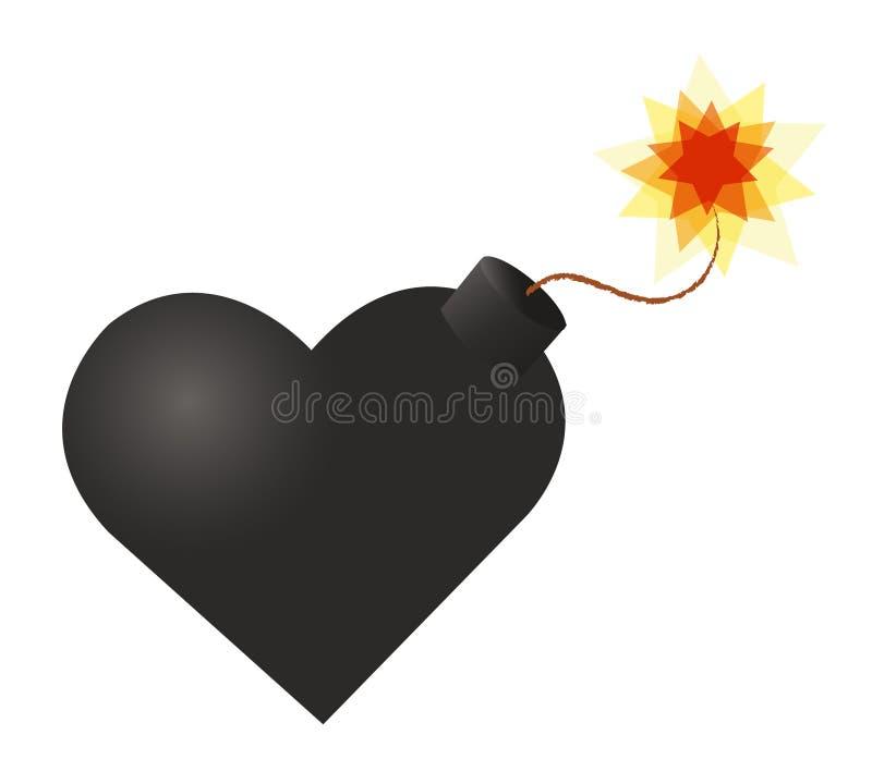 BOMBARDERA hjärtasymbolen, bombardera klart att explodera, hjärtinfarktsymbolen royaltyfri illustrationer