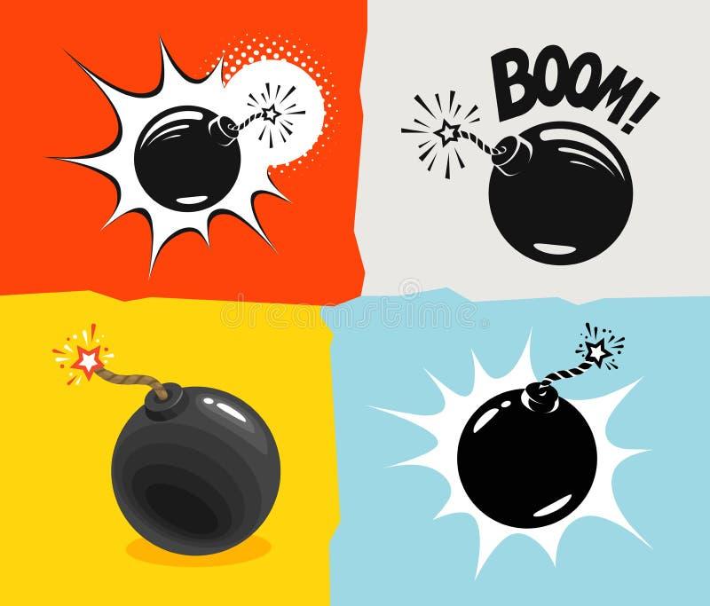 Bombardera klart att explodera, symbolen För tecknad filmvektor för granat komisk illustration vektor illustrationer