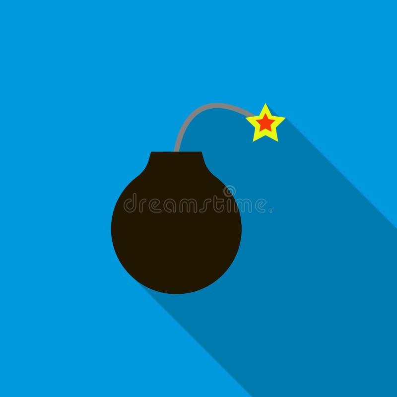 Bombardera klart att explodera symbolen, lägenhetstil vektor illustrationer