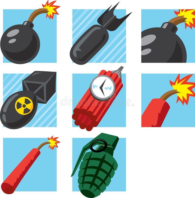 Bombardera symboler stock illustrationer