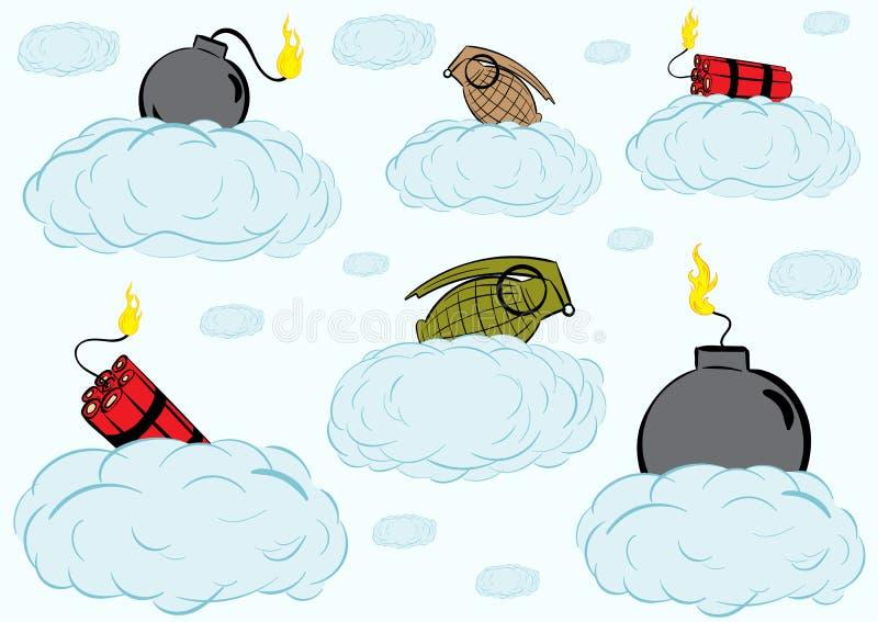 Bombarderar på moln vektor illustrationer