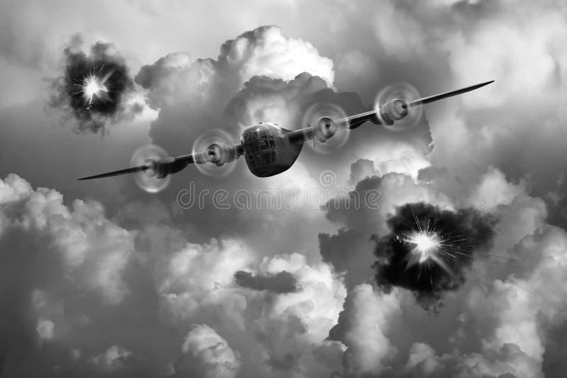 Bombardero del vintage de B-24 WWII, guerra, batalla imagen de archivo libre de regalías