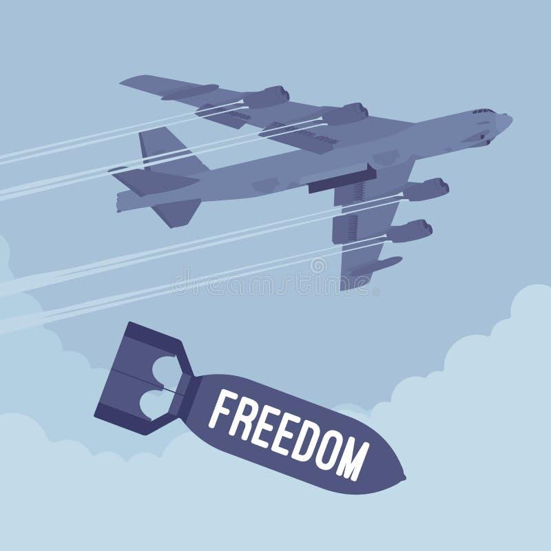 Bombardero y bombardeo de la libertad ilustración del vector