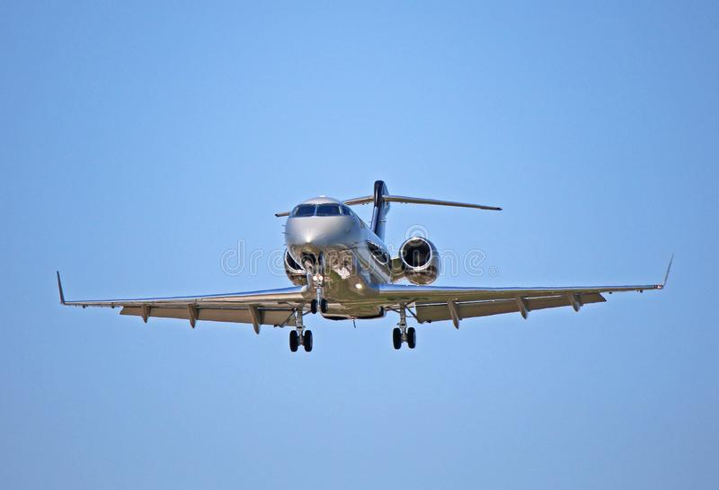 Bombardier Challenger 300 Private Corporate Jet. View of a Bombardier Challenger 300 business jet. A popular corporate jet, the Challenger 300 can seat up to royalty free stock photography
