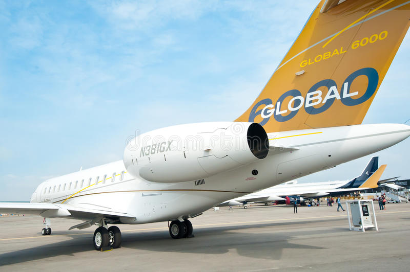 Bombardier Globale 6000 in Singapore Airshow 2014 royalty-vrije stock foto