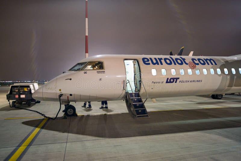 Bombardier Q400 NextGen. WARSAW, POLAND - CIRCA NOVEMBER, 2017: Eurolot Bombardier Q400 NextGen at Warsaw Chopin Airport royalty free stock photo