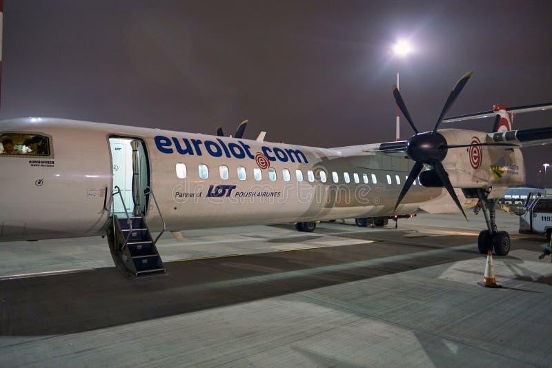 Bombardier Q400 NextGen. WARSAW, POLAND - CIRCA NOVEMBER, 2017: Eurolot Bombardier Q400 NextGen at Warsaw Chopin Airport stock image