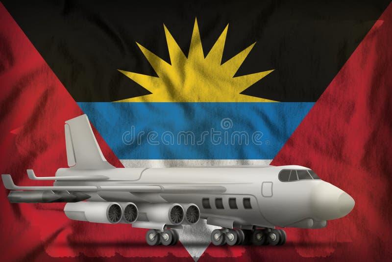 Bombardier sur le fond de drapeau d'état de l'Antigua-et-Barbuda illustration 3D illustration de vecteur