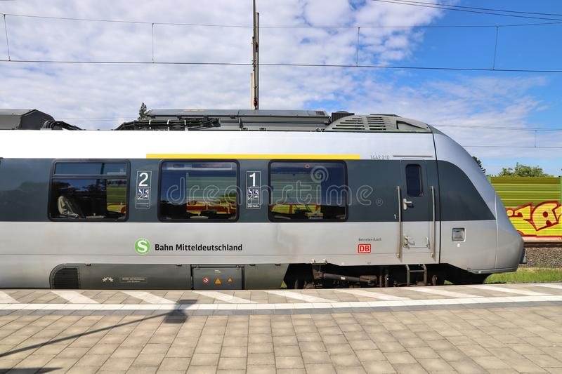Bombardier Talent 2. LEIPZIG, GERMANY - MAY 9, 2018: Electric public transportation train of S-Bahn Mitteldeutschland. The train is operated by DB Region. It is royalty free stock photo