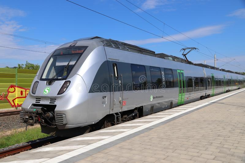 Bombardier Talent 2. LEIPZIG, GERMANY - MAY 9, 2018: Electric public transportation train of S-Bahn Mitteldeutschland. The train is operated by DB Region. It is stock photos