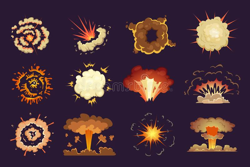 Bombardieren Sie Explosion Explodierten abstraktes Explosionsfeuer und -wolken der Bewegung Vektorkarikatursammlung vektor abbildung