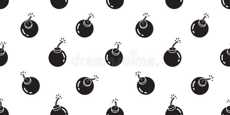 Bombardieren Sie nahtlose lokalisierten Tapetenhintergrund der Musterikonengranate Karikatur lizenzfreie abbildung