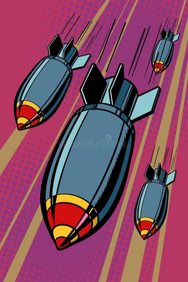 Bombas, bombardeo, armas de la aviación ilustración del vector