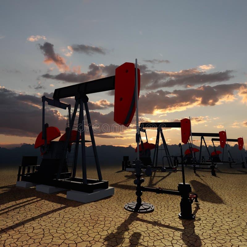 Bombas de óleo no céu do por do sol ilustração do vetor