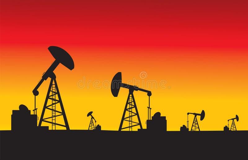 Bombas de aceite en el ejemplo del vector de la puesta del sol stock de ilustración