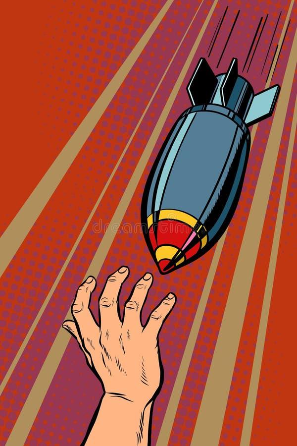 Bombas de la guerra que caen en gente ilustración del vector