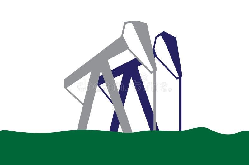 Bombas de petróleo na ilustração da grama verde ilustração royalty free