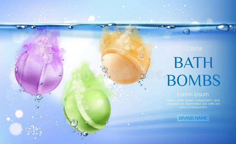 Bombas del baño en el agua, producto de belleza de los cosméticos del balneario libre illustration