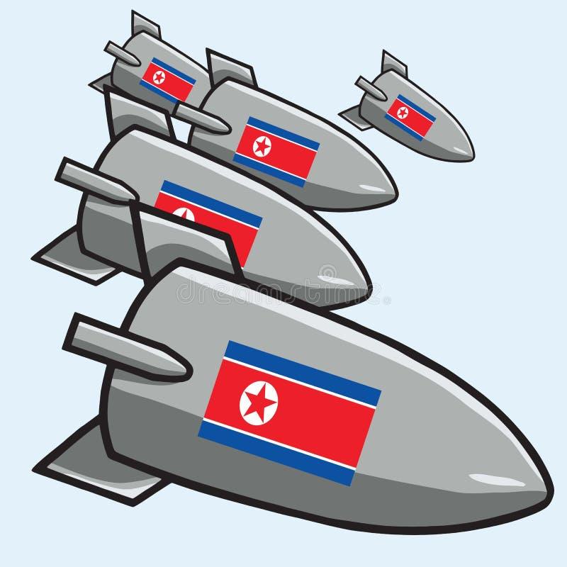 Bombas nucleares atômicas com bandeira norte-coreana ilustração do vetor