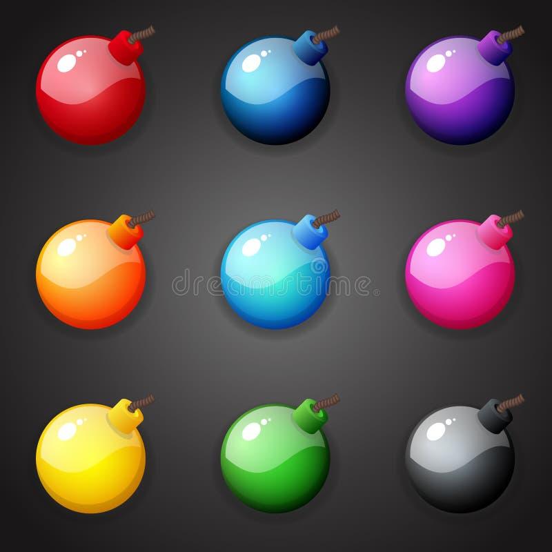 Bombas para el juego del partido tres ilustración del vector