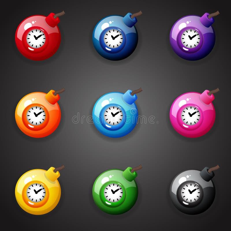 Bombas para el juego del partido tres stock de ilustración