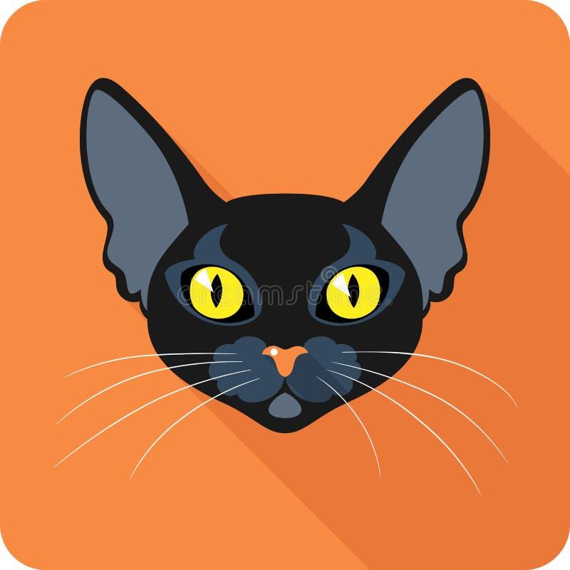 Bombay Black Cat icon flat design stock image