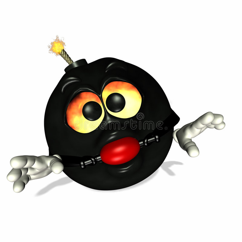 Bombdage. Emoticon bomb with fire in his eyes and a lit fuse with a bondage flair royalty free illustration