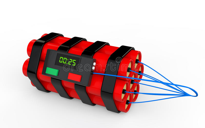 bombe à retardement de la dynamite 3d illustration de vecteur