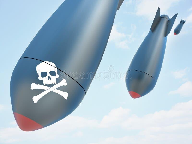 Bombe aérienne et ciel illustration de vecteur