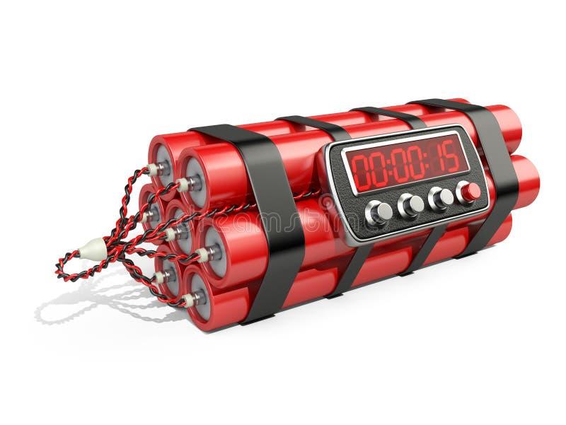 Bombe avec la minuterie de pendule à lecture digitale illustration libre de droits