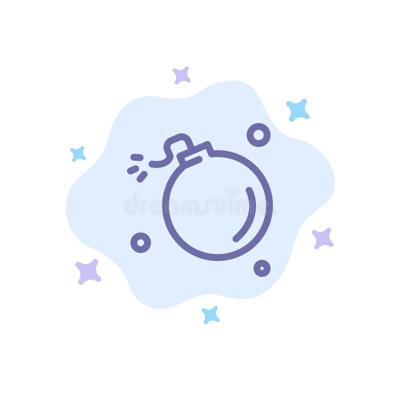 Bombe, comète, explosion, météore, icône bleue de la Science sur le fond abstrait de nuage illustration libre de droits