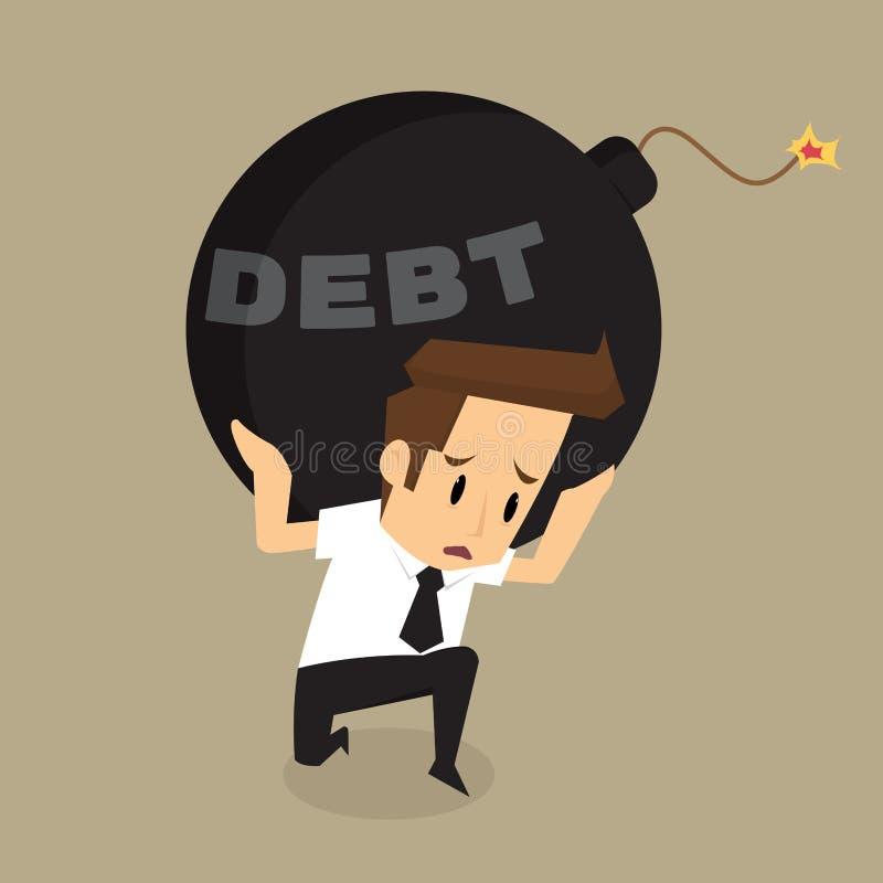 Bombe de dette d'incidence d'homme d'affaires illustration stock