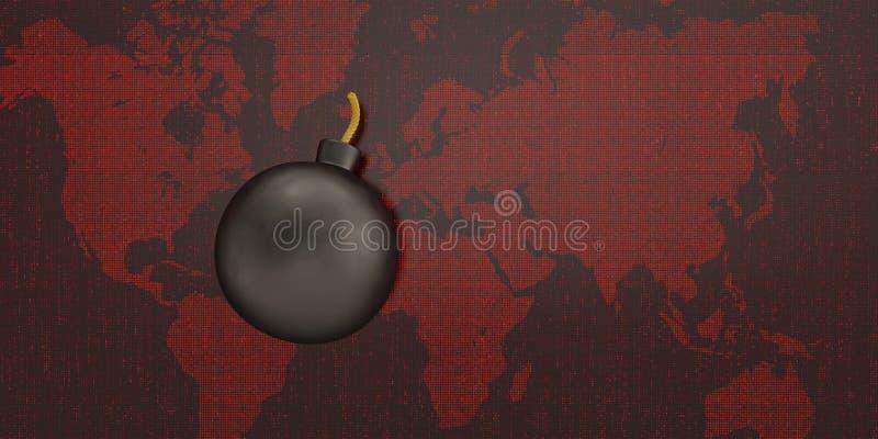 Bombe de Digital sur le fond numérique du monde rouge illustration 3D illustration stock