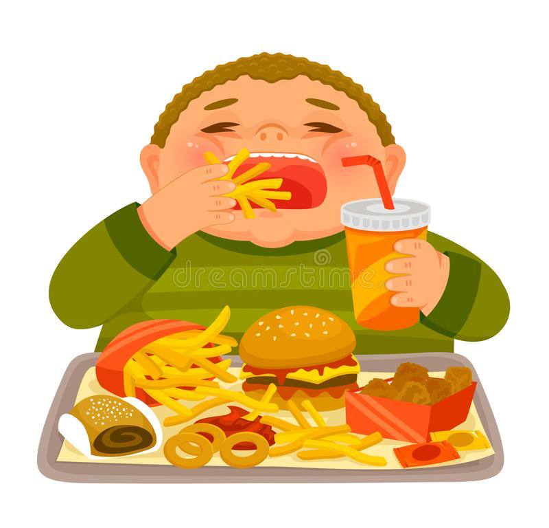 Bombe de garçon mangeant de la nourriture industrielle illustration libre de droits