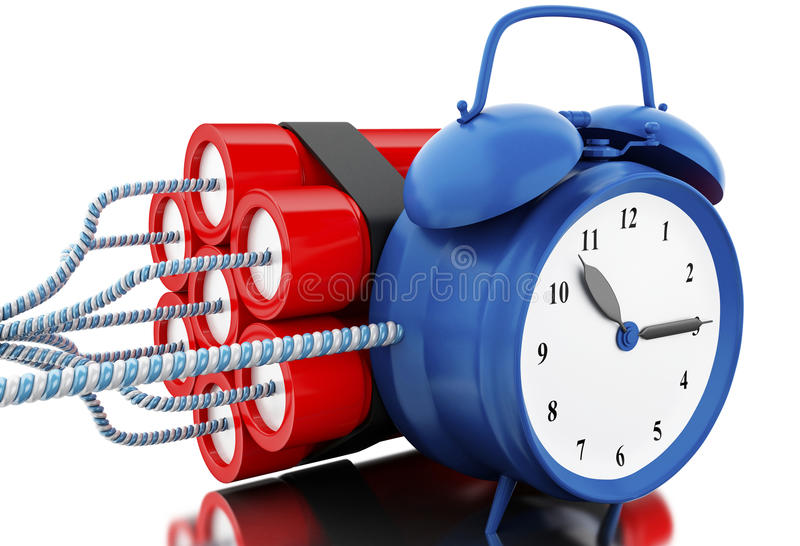 bombe de la dynamite 3d avec la minuterie d'horloge illustration libre de droits