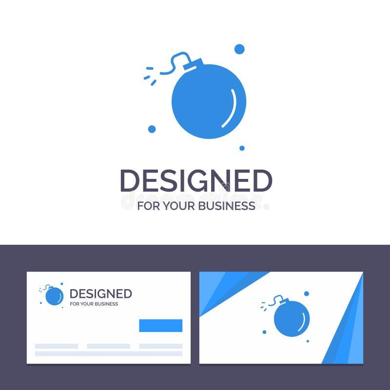 Bombe de visite de calibre créatif de carte de visite professionnelle et de logo, comète, explosion, météore, illustration de vec illustration stock