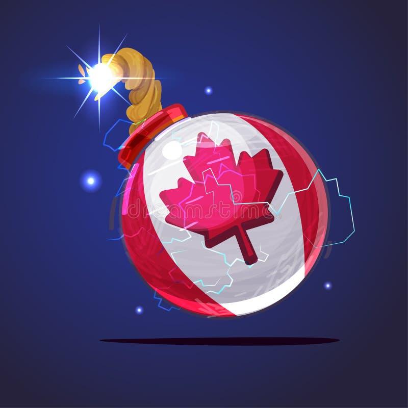 Bombe et fusible de burning avec le drapeau de Canada concept financier de crise illustration stock