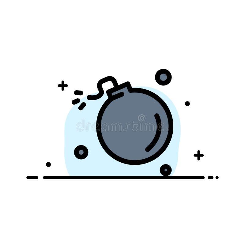Bombe, Komet, Explosion, Meteor, Wissenschafts-Geschäfts-flache Linie füllte Ikonen-Vektor-Fahnen-Schablone stock abbildung