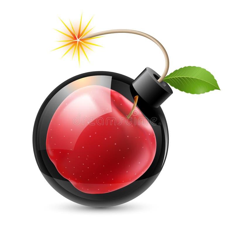 Bombe mit einem Apfel vektor abbildung