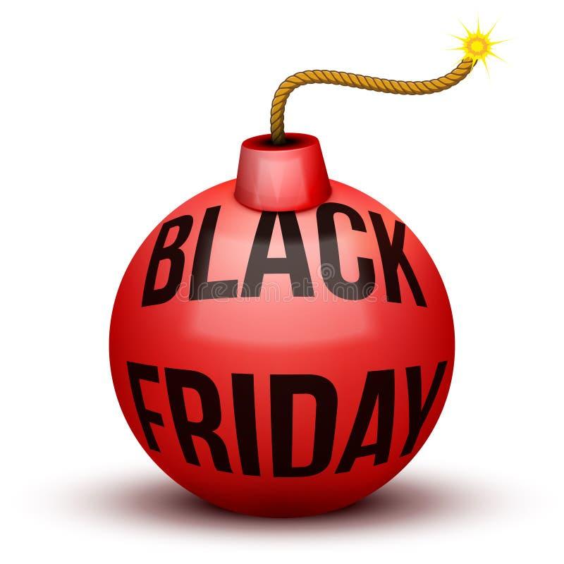 Bombe rouge environ au souffle avec des ventes de Black Friday illustration de vecteur
