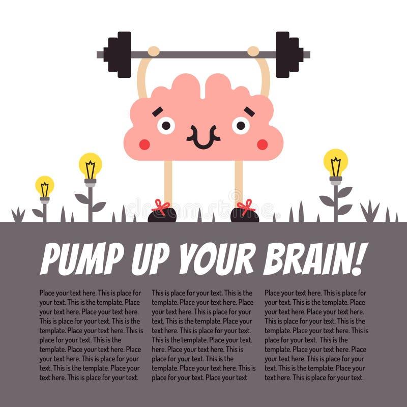 Bombee para arriba su ejemplo de la diversión del vector del cerebro con el lugar para su texto Cerebro con el barbell ilustración del vector