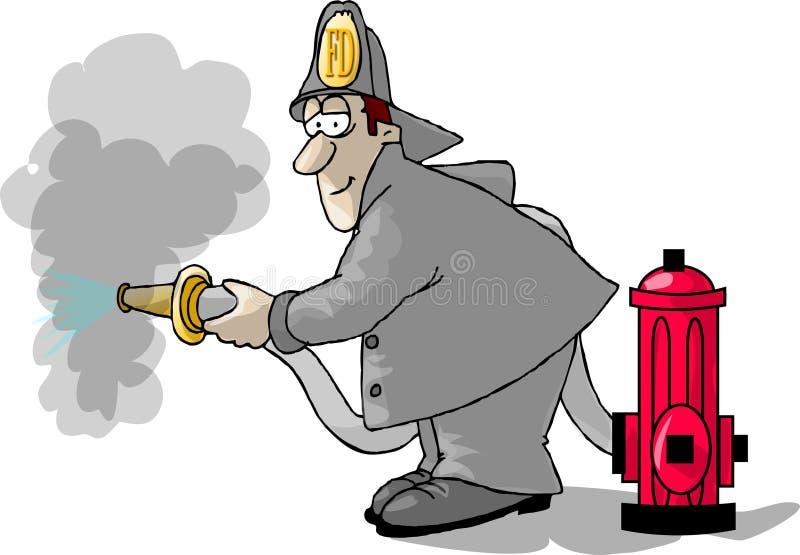 Bombeiro, boca de incêndio e uma mangueira ilustração royalty free